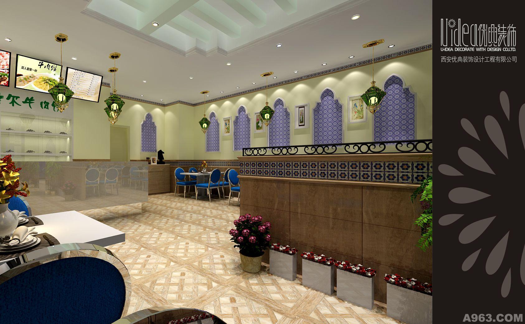 2,餐厅室内装饰仿木纹砖,深色铝合金隔断,古铜吊灯等材质的运用相互