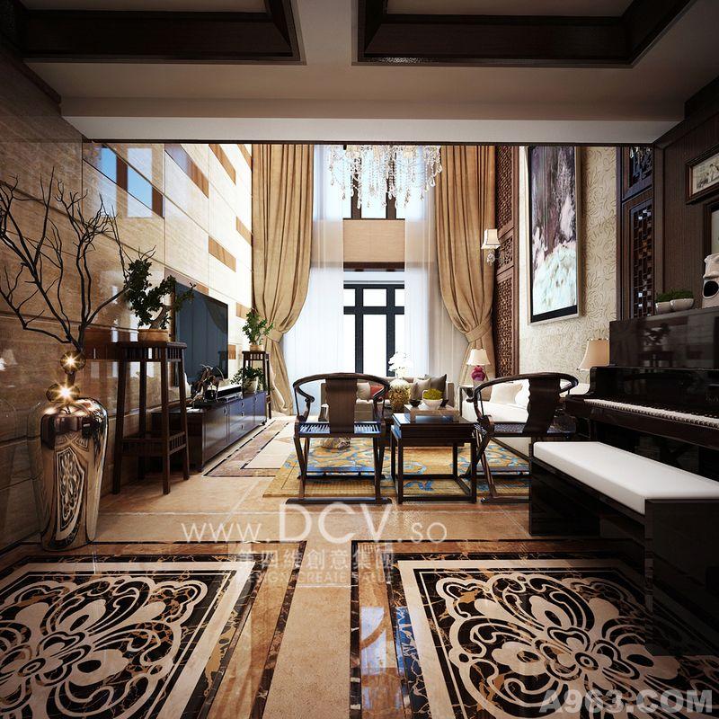 西安家装住宅室内设计—浐灞半岛豪宅别墅 样板间 新中式风格