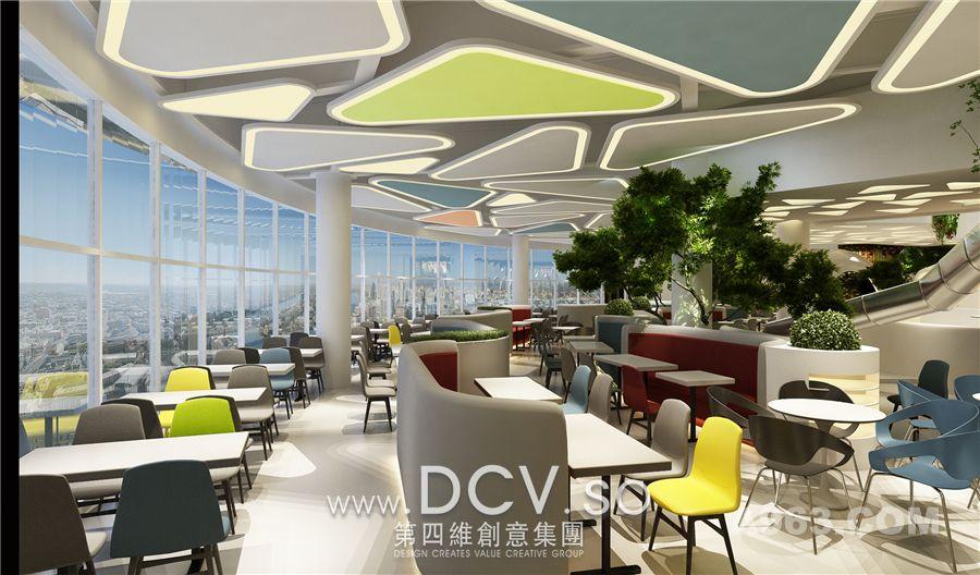 打造出空间最具特色的空中生态餐厅,从一层到水吧区地台再进入拱形