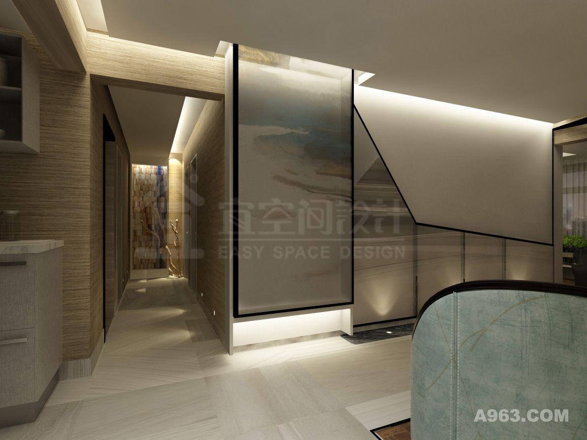 走廊的尽头,我们选用了一副实物画,对整个走廊进行点睛。而在墙壁下方,设计的感应地灯,也是为了便捷的使用与节能。