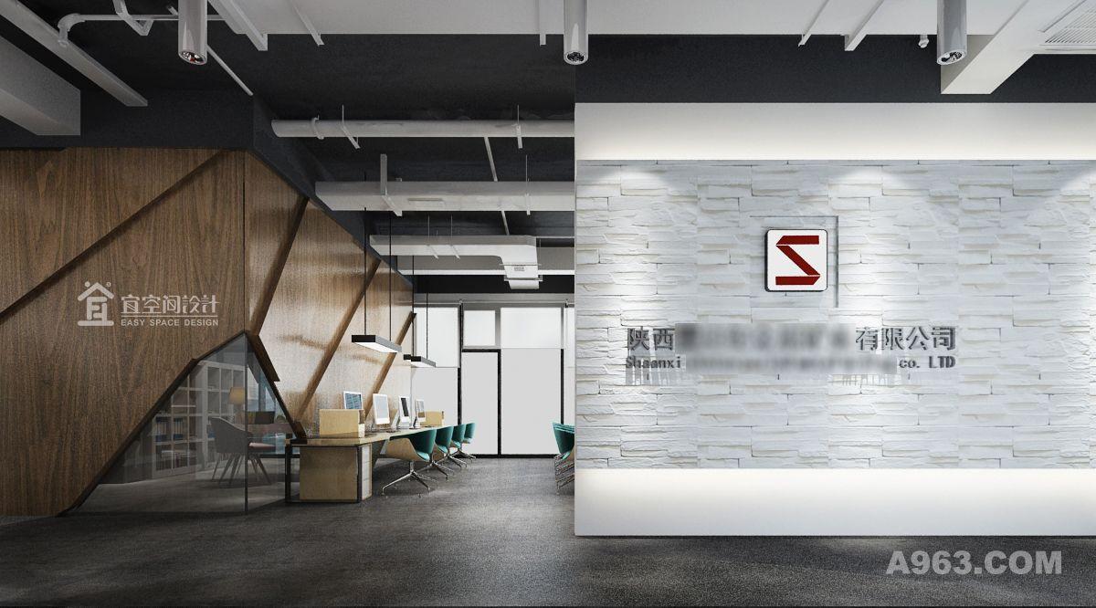入口形象墙,展示企业简洁、稳重的气质;